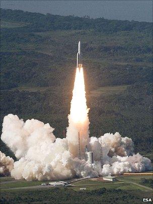 O foguete Hylas que opera banda larga